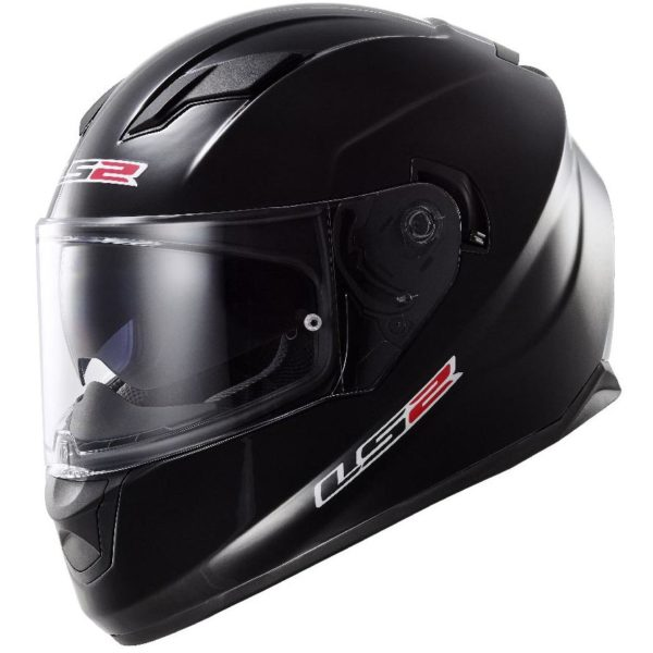 ls2 helmet stream solid black - left side