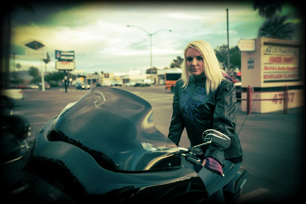 Bad ass in leathers