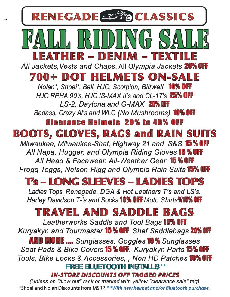 Fall Riding Sale - Details of discounts